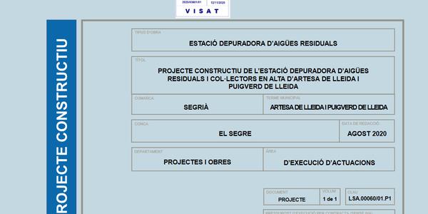 Aprovat el projecte definitiu de la depuradora de Puigverd i Artesa