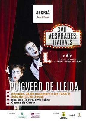 Puigverd obra la nova edició de les Vesprades Teatrals del Segrià